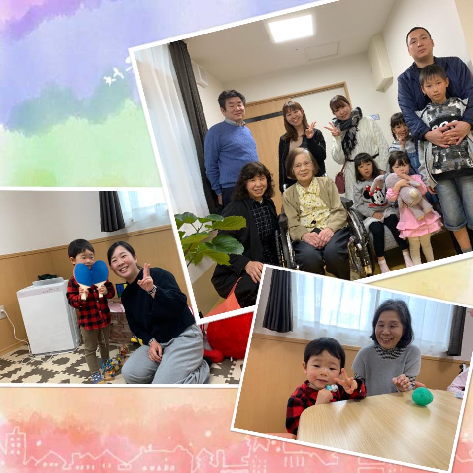 小さな面会者と大家族のご家族様の写真